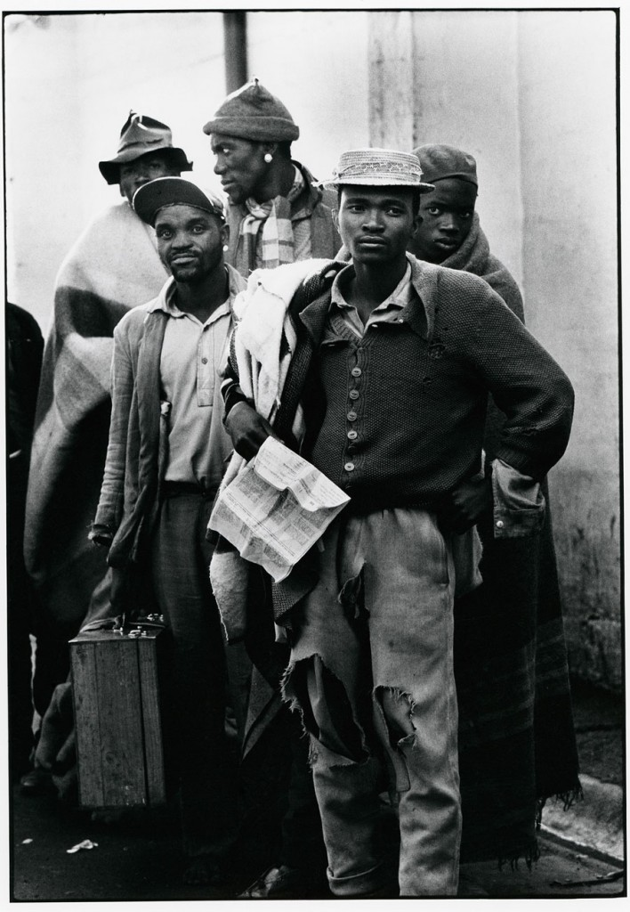 Pensive tribesmen, newly recruited to mine labour, awaiting processing and assignment 1960-1966 © The Ernest Cole Family Trust Courtesy of the Hasselblad Foundation, Gothenburg, Sweden