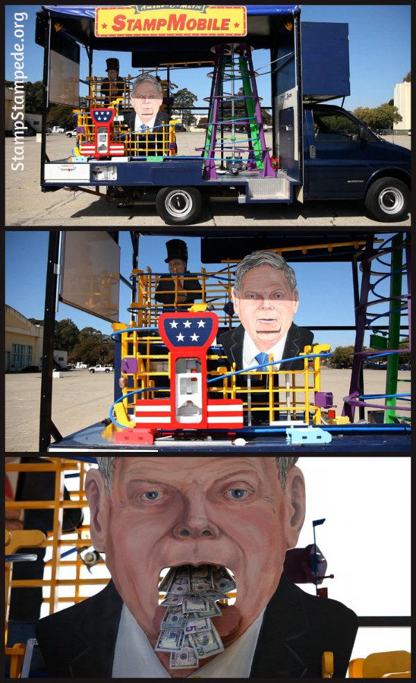 La máquina de Rube Goldberg montada sobre el 'Stampmobile'