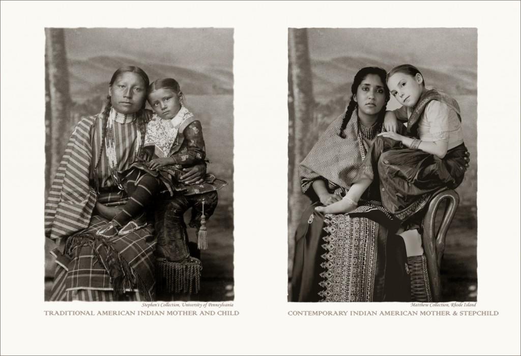 A la izquierda, foto de hace cien años de una madre india con su hija. A la derecha, una abuela actual de la India con su nieta.