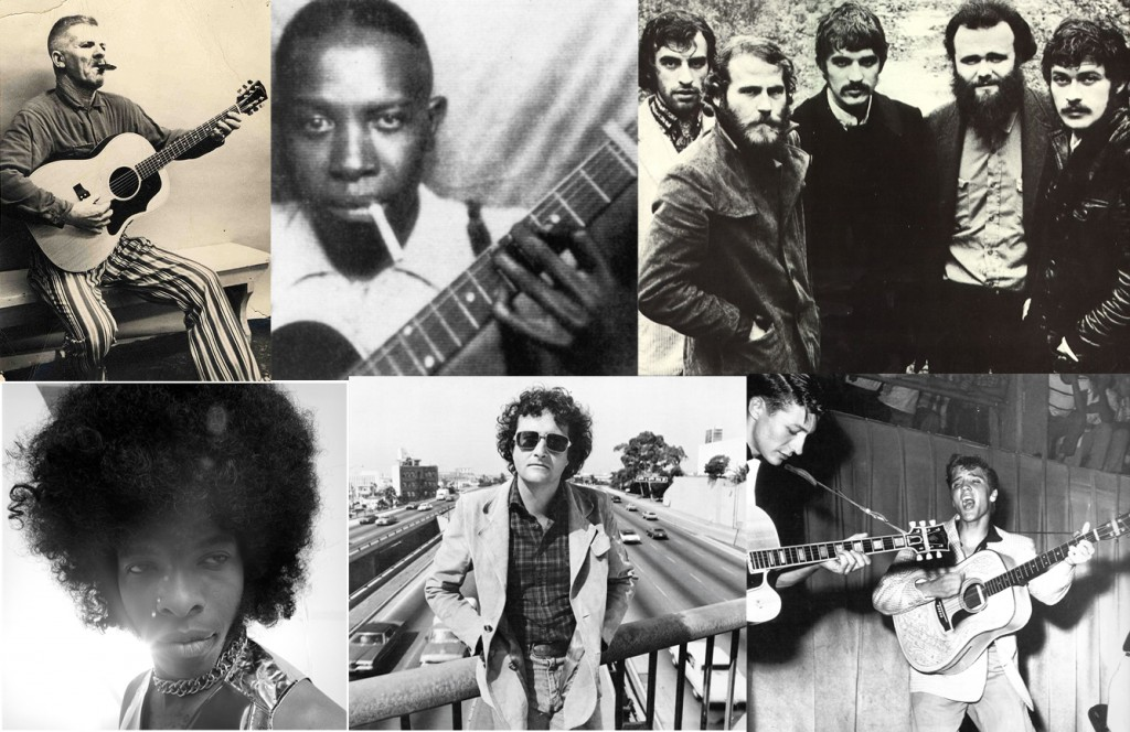 Arriba, desde la izquierda: Harmonica Frank, Robert Johnson y The Band. Abajo: Sly Stone, Randy Newman y Elvis Presley