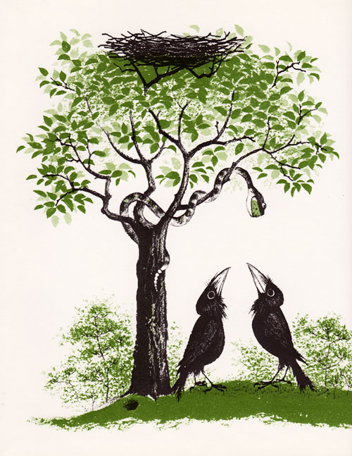"ILustración de Barbara Cooney para la primera edición de ""The Crows of Pearblossom """