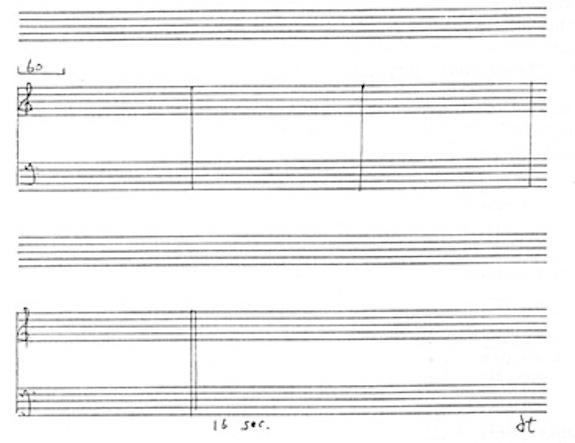 Partitura de la obra 4'33''. de John Cage