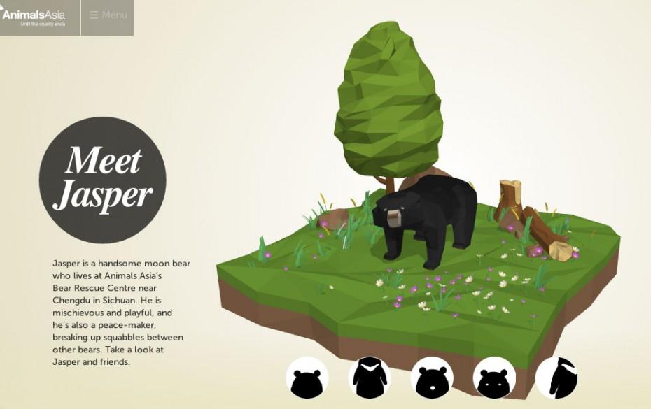 Jasper, el oso protagonista de la página web creada por Microsoft para Animals Asia