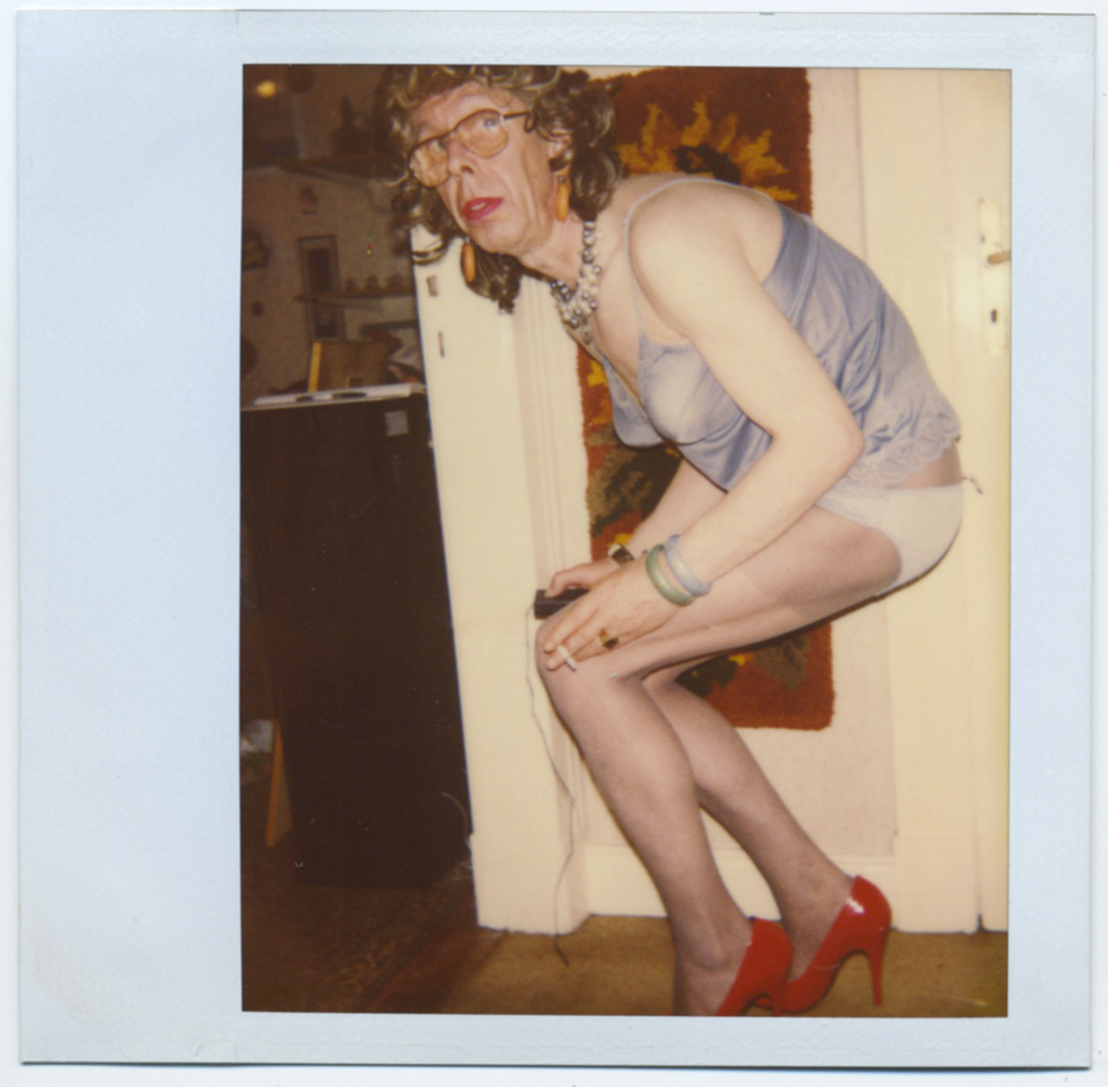 "Martina Kubelk, untitled, Polaroid (8,3 x 10,5 cm) from the photo album ""Martina Kubelk. Kleider - Unterwaesche"" (Martina Kubelk. Dresses - Lingerie), 1988 - 1995, consisting of 365 Polaroids and 23 Vintage Prints, 32 x 27 x 8 cm Courtesy Galerie Susanne Zander / Delmes & Zander"