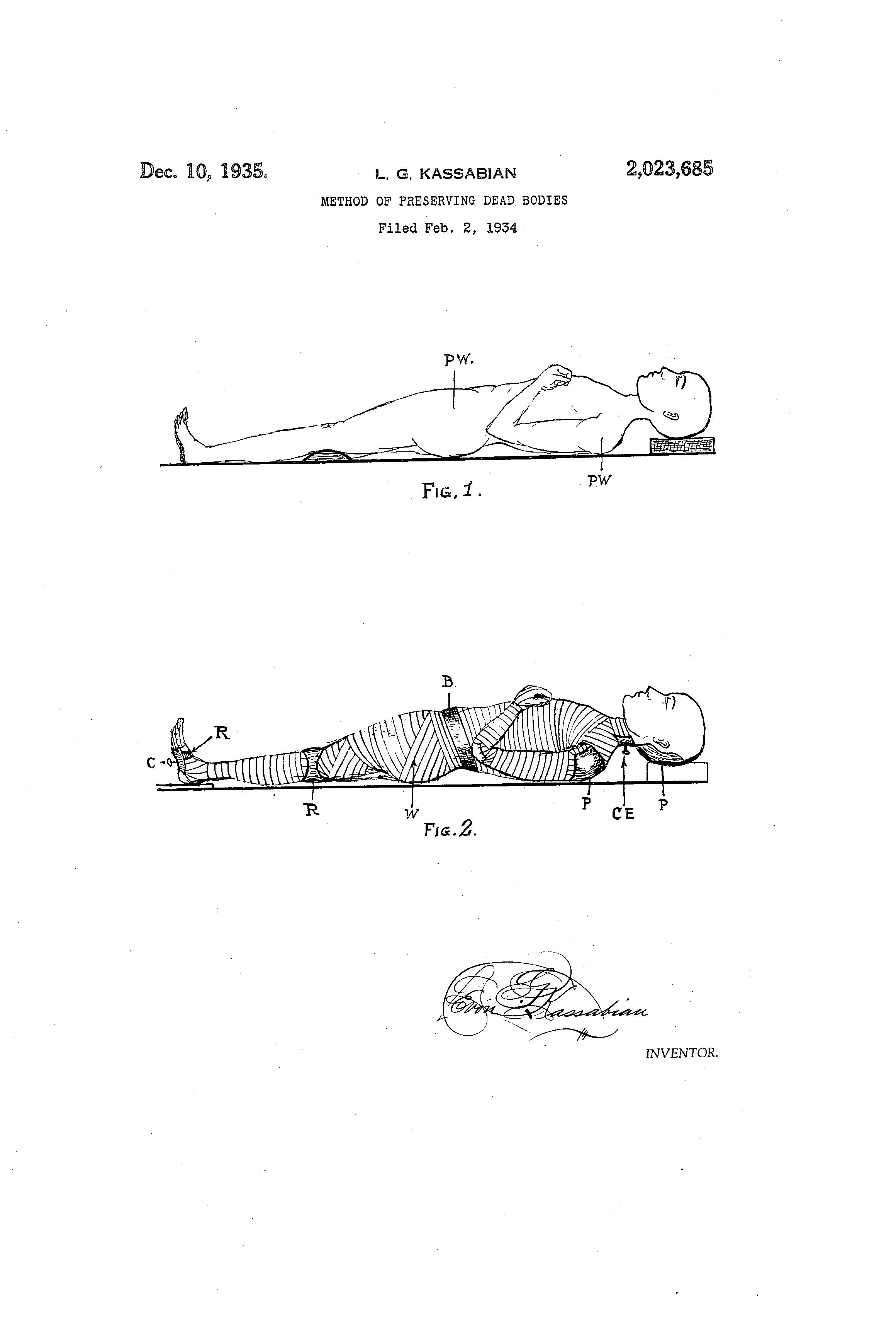 Ilustración de la patente 'Method of Preserving Dead Bodies' (1934)