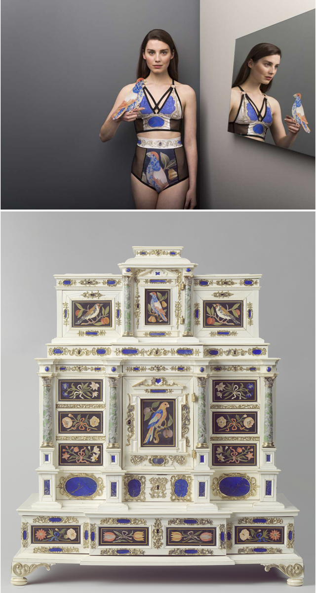 Conjunto de lencería de 'Norwegian wood' inspirado en un lujoso mueble alemán del siglo XVII