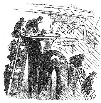 Caricatura  de la 'Torre orquesta' propuesta por Adolphe Sax en 1850