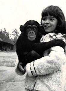 """Con un chimpancé de """"2001, una odisea del espacio"""", 1967"""