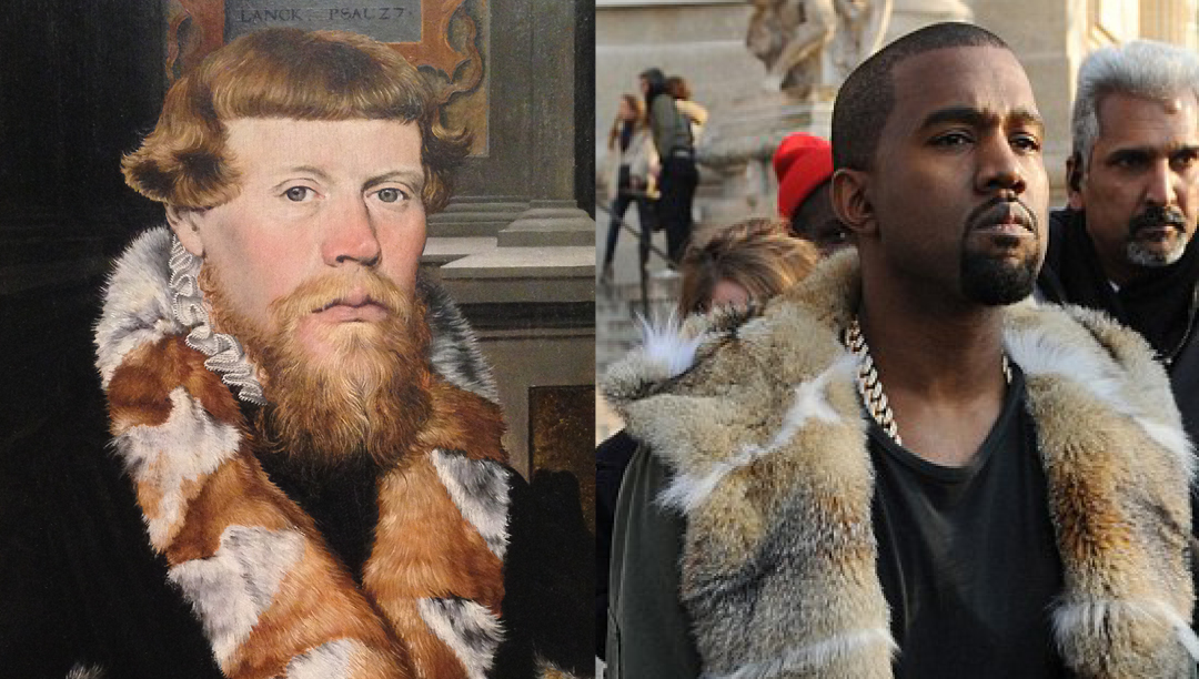 Left: detail of 'Christ Blessing surrounded by a Donor Family'. Unknown German Painter, 1560 - Right: Kanye West