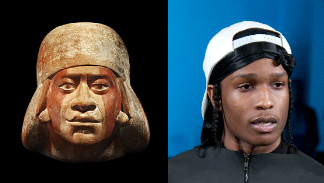 Left: Pre Colombian - Moche portrait head of 'Cut Lip' 400 AD - Right: ASAP Rocky