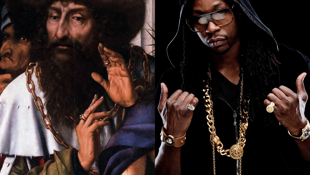 Left: Quentin Massys. Ecce Homo-1520 - Right: 2 Chainz