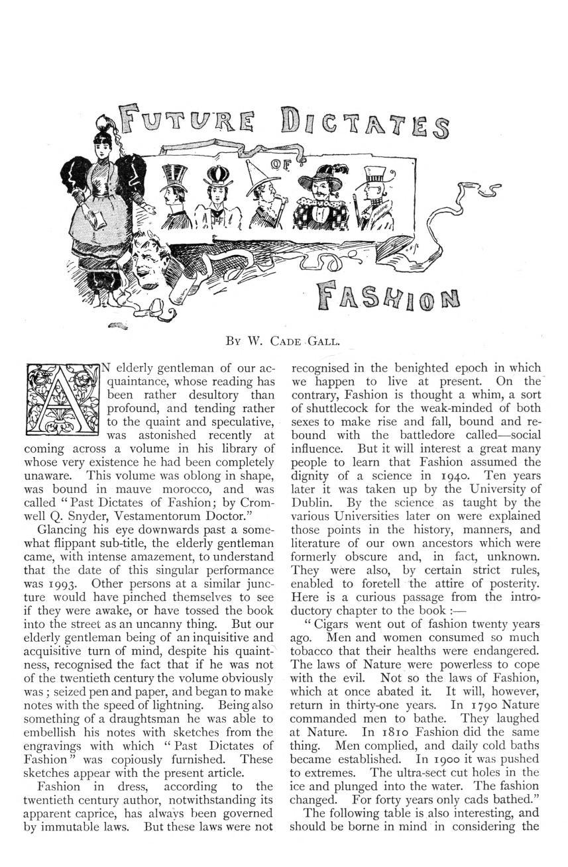 Primera página del artículo 'Future Dictates Fashion', de W. Cade Gall