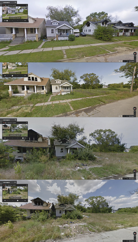 Calle Exeter, entre Seven, fotos de Mile y Penrose, fotos de Goggle Street View de 2009, 2011, 2013 (julio) y 2013 (agosto)