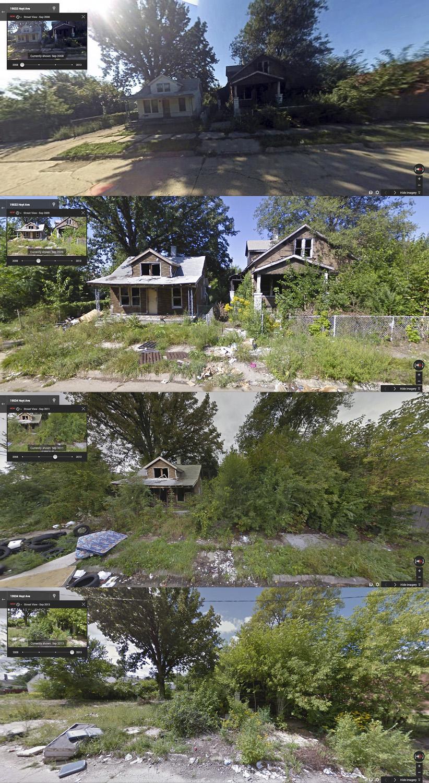 Calle Hoyt, entre Liberal y Pinewood, fotos de Goggle Street View de 2008, 2009, 2011 y 2013