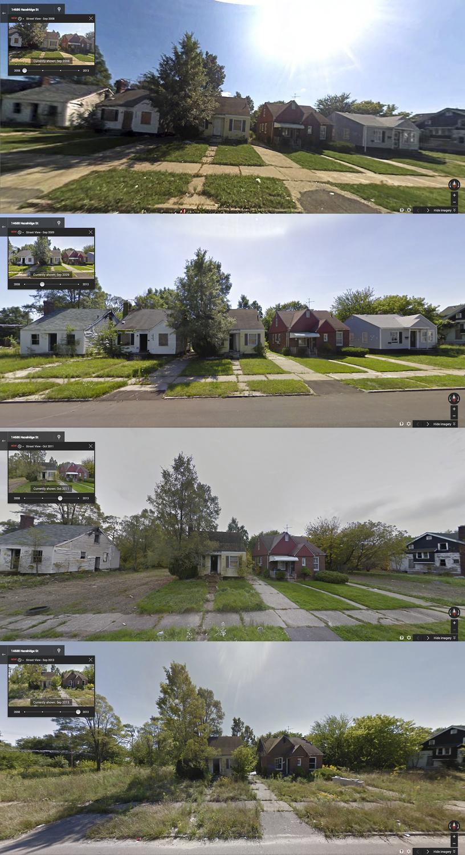 Calle Hazelridge, entre Celestine y McCray, fotos de Goggle Street View de 2008, 2009, 2011 y 2013