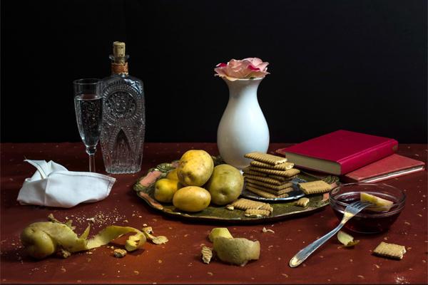 Bodegón de Dan Bannino que representa la dieta del poeta romántico inglés Lord Byron