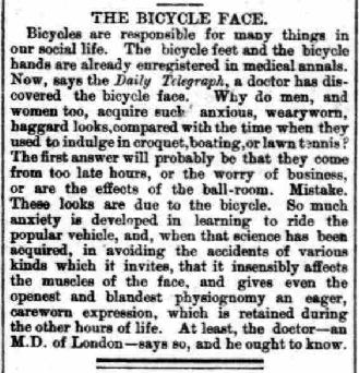 'The Bicycle face', artículo publicado en la publicación inglesa 'Cheltenham Chronicle' en 1896