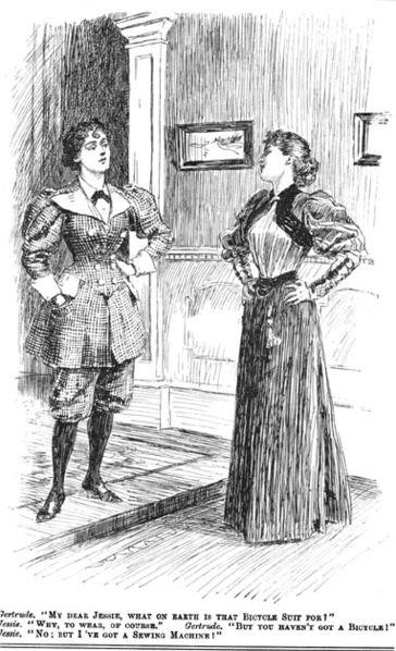 -Mi querida Jennie, ¿para qué demonios es ese traje de bicicleta? -Pues para llevarlo, claro -¡Pero tú no tienes bicicleta! -No, ¡pero tengo una máquina de coser!Viñeta de la revista satírica 'Punch' de 1895