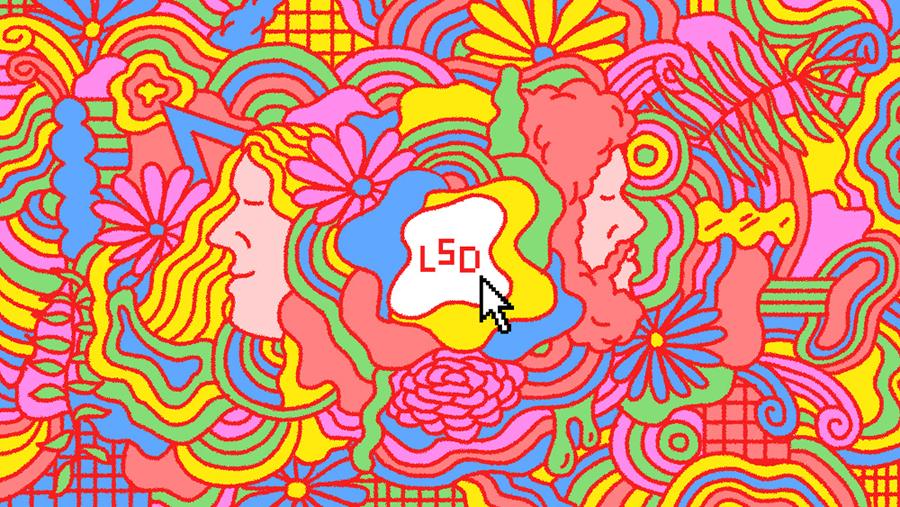 Ilustración de Clay Hickson para el virus LSD