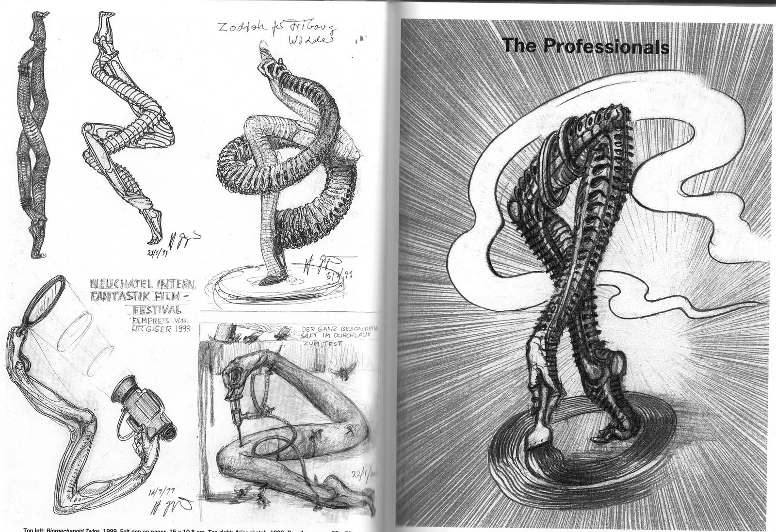 """Dibujos de Giger para """"El misterio de San Gotardo"""" © HR Giger"""