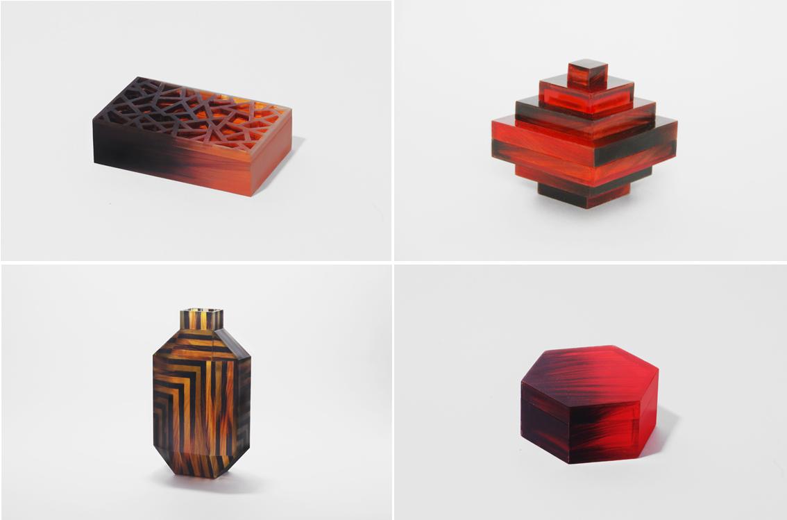 Cuatro de los objetos de la serie 'Hair Highway'