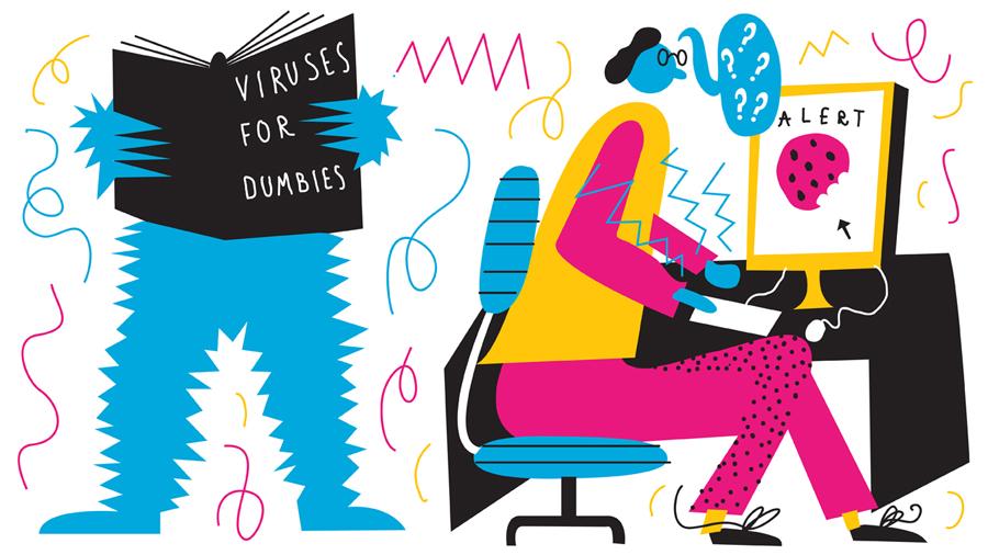 Ilustración de Lawrence Slater para el virus Cookie Monster