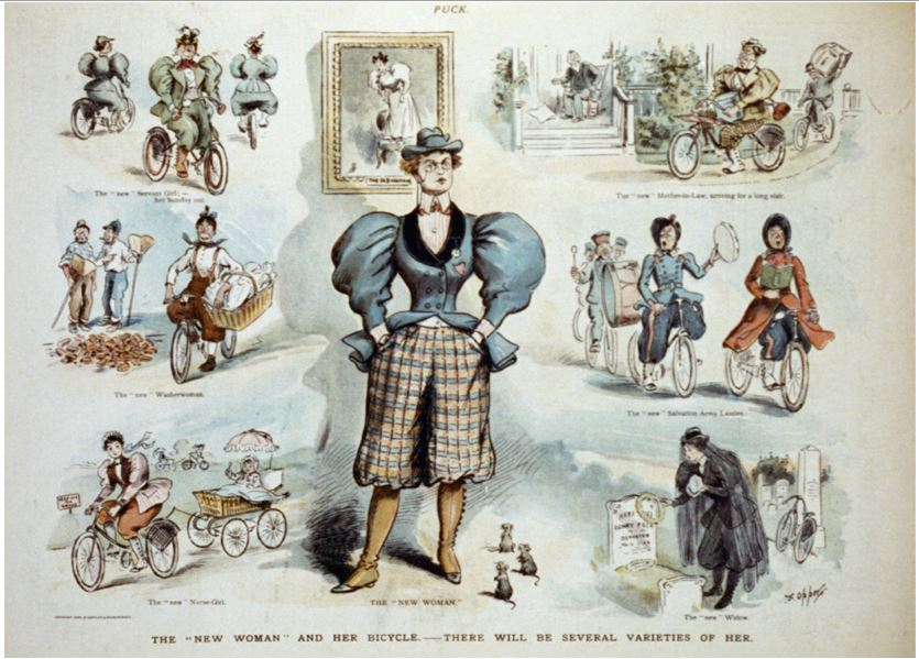 The 'new woman' and her bicycle - there will be several varieties of her - Frederick Burr Opper