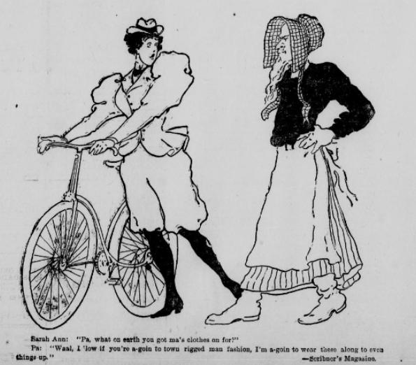 """Sarah Ann: """"Papá, ¿por qué demonios llevas la ropa de mamá?"""" Papá: """"Bueno, si tú vas a la ciudad a la moda de los hombres, yo llevaré esto para igualar las cosas"""".Viñeta de 'Scribners magazine'"""