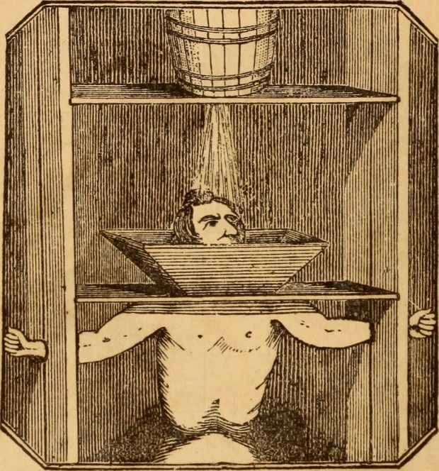 "Ilustración sobre un método de tortura del libro ""The New York Tombs; its secrets and its mysteries. Being a history of noted criminals, with narratives of their crimes"" (1874)"