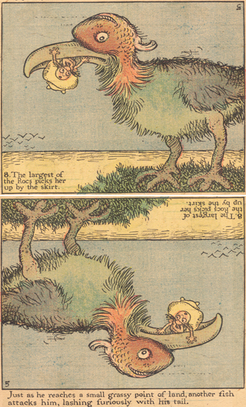 Viñeta de 'The Upside Downs of Little Lady Lovekins and Old Man Muffaroo' al derecho y al revés
