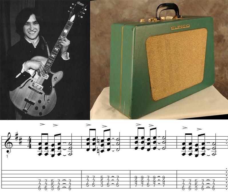 """Dave Davies con la guitarra que tocó en """"You Really Got Me""""y el modelo el amplificador que utilizó. Abajo, el 'riff' de guitarra de la canción"""