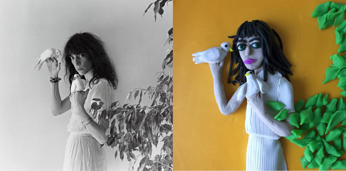 Patti Smith, 1979 © Robert Mapplethorpe - Derecha: versión de Eleanor Macnair