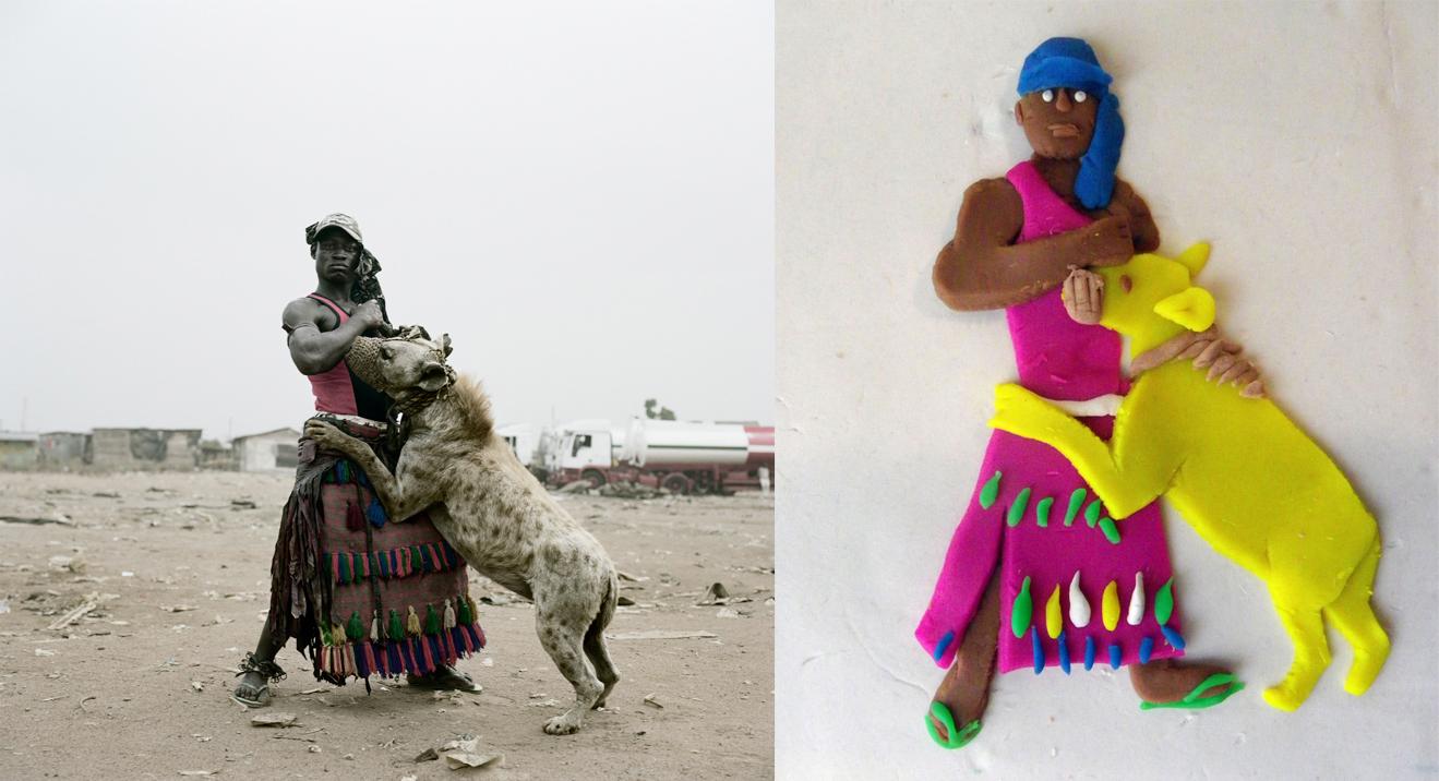 'Abdullahi Mohammed with Gumu', Ogere – Remo, Nigeria, 2007, from 'The Hyena & Other Men' © Pieter Hugo - Derecha: versión de Eleanor Macnair