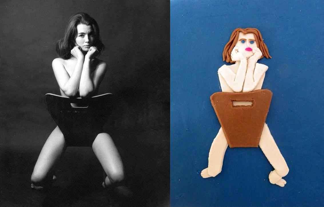 'Christine Keele', © Lewis Morley, 1963 - Derecha: versión de Eleanor Macnair
