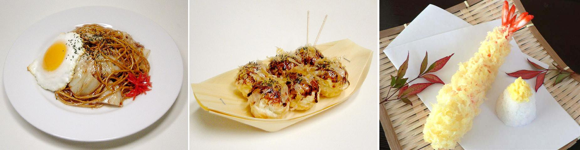 Yakisoba-takoyaki y una tempura de gamba - (www.fake-food.net)