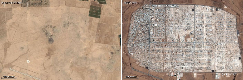 Campo de refugiados de Zaatari, antes y después