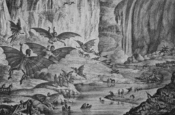 Una de las ilustraciones del posteriormente conocido como 'The Great Moon Hoax' ('El gran engaño de la Luna'), 1835