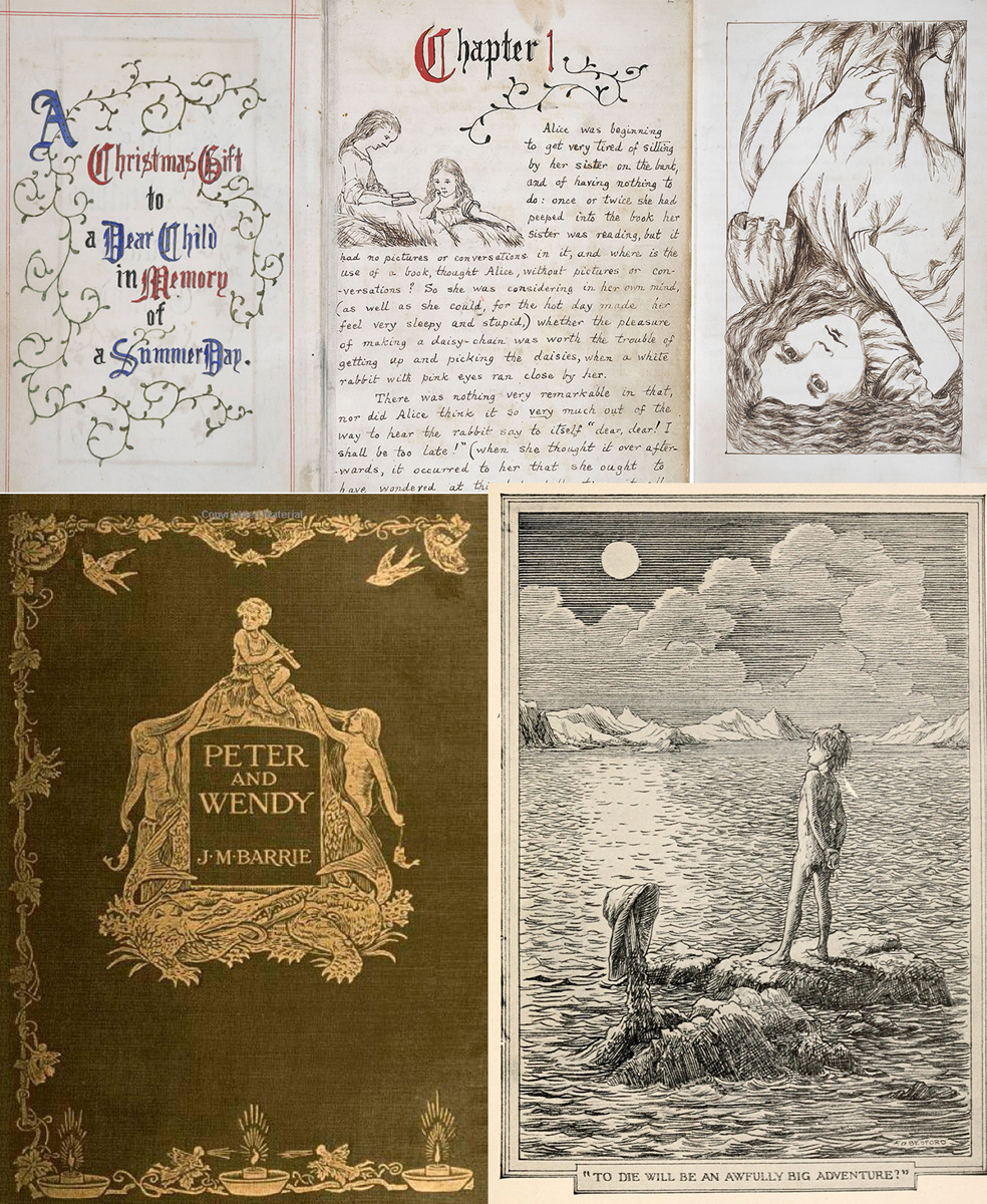 "Arriba, páginas del manuscrito de Lewis Carroll para su ""Alice's Adventures Under Ground"" (British Library). Abajo, portada de la primera edición de ""Peter and Wendy"" y una de las ilustraciones del libro"