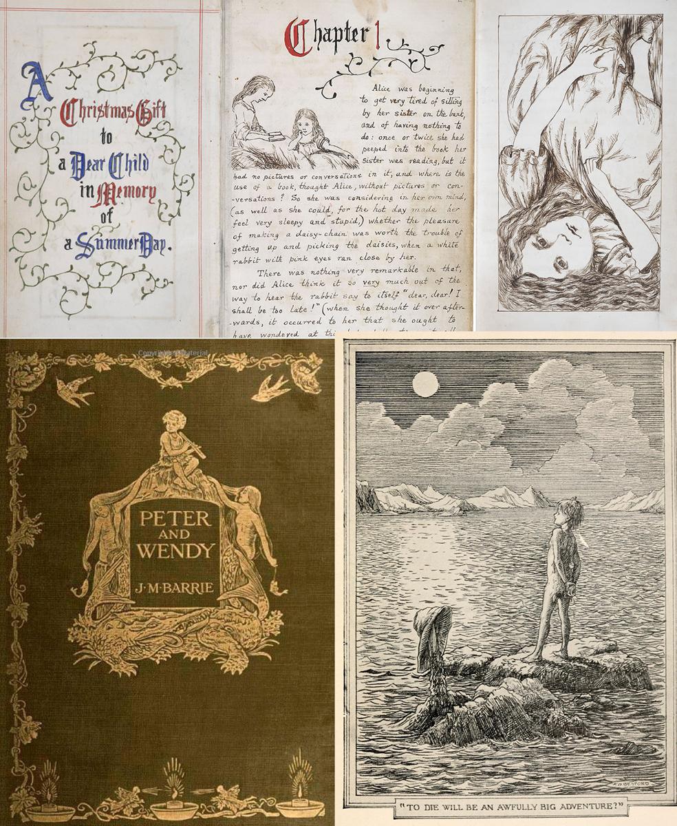 """Arriba, páginas del manuscrito de Lewis Carroll para su """"Alice's Adventures Under Ground"""" (British Library). Abajo, portada de la primera edición de """"Peter and Wendy"""" y una de las ilustraciones del libro"""