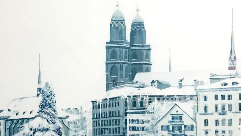 Detalle de 'Snowing in Zurich' - Onur Dinc