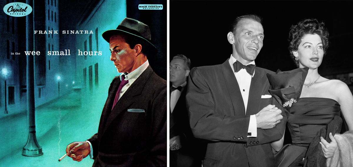 """Portada de """"In the Wee Small Hours"""" (Frank Sinatra, 1955) y foto del matrimonio Sinatra Gardner en torno a 1952"""