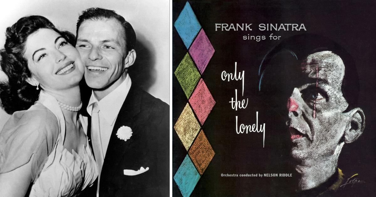 """Portada de """"Frank Sinatra Sings for Only the Lonely"""" (Frank Sinatra, 1958) y foto del matrimonio Sinatra Gardner en torno a 1952"""