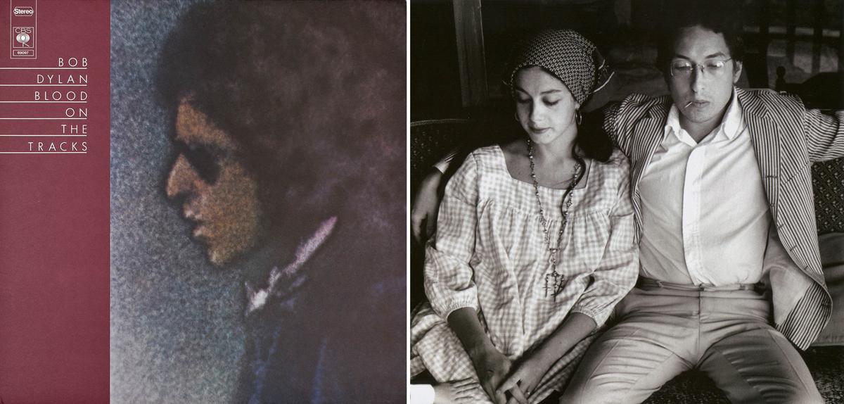 """Portada de """"Blood on the Tracks"""" (Bob Dylan, 1975) y foto del cantante con su primera esposa, Sara, en 1968 (Foto: © Elliot Landy)"""