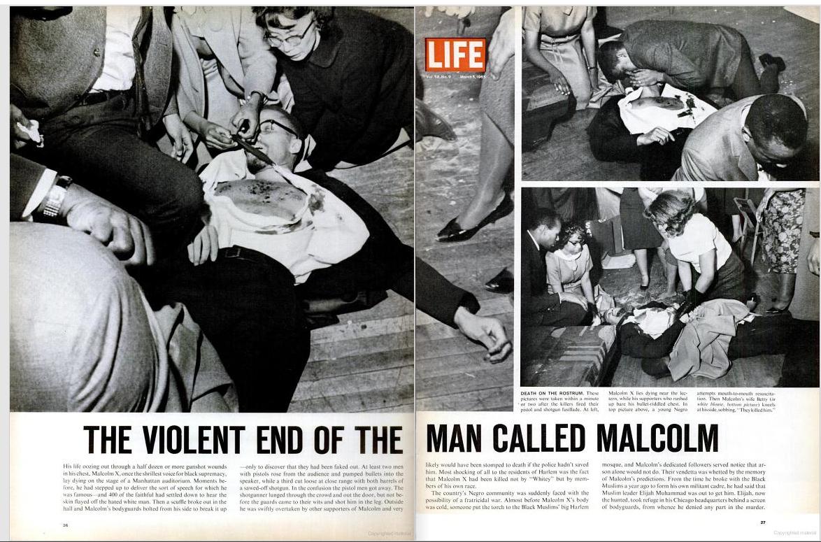 """""""Final violento del hombre llamado Malcolm X"""" - Doble página de 'Life' sobre el asesinato del líder negro"""