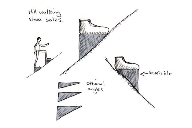Dominic Wilcox imagina unos zapatos para subir cuestas