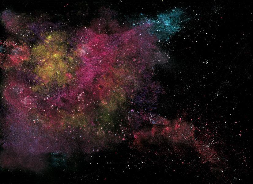 'Nebula', obra de Navid Baraty hecha con maquillaje, aceite de oliva, tiza, talco, sal y agua