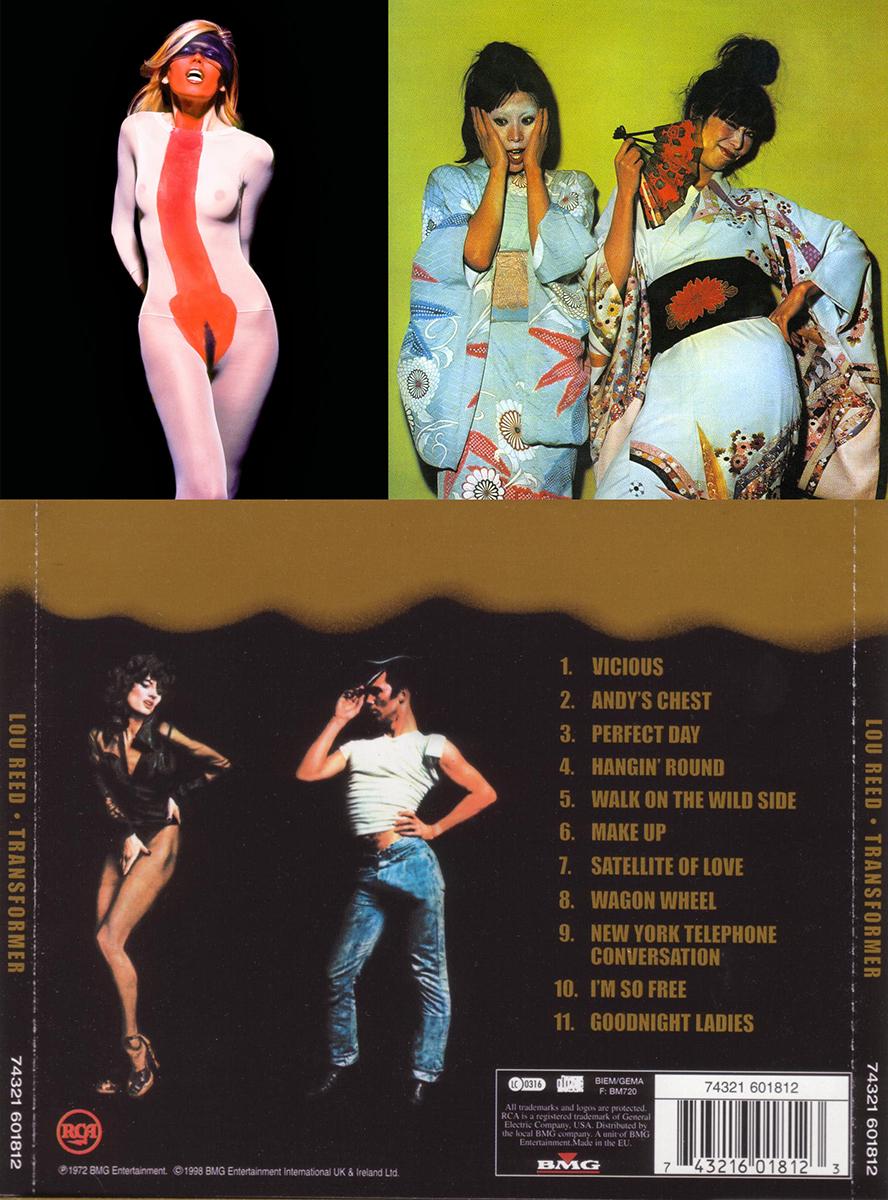 "Arriba izquierda, Amanda Lear en ""Siren"". Al lado cubierta de ""Kimono My House"", de Sparks. Abajo, contraportada de ""Transformer"", de Lou Reed - Fotos © Karl Stoecker"