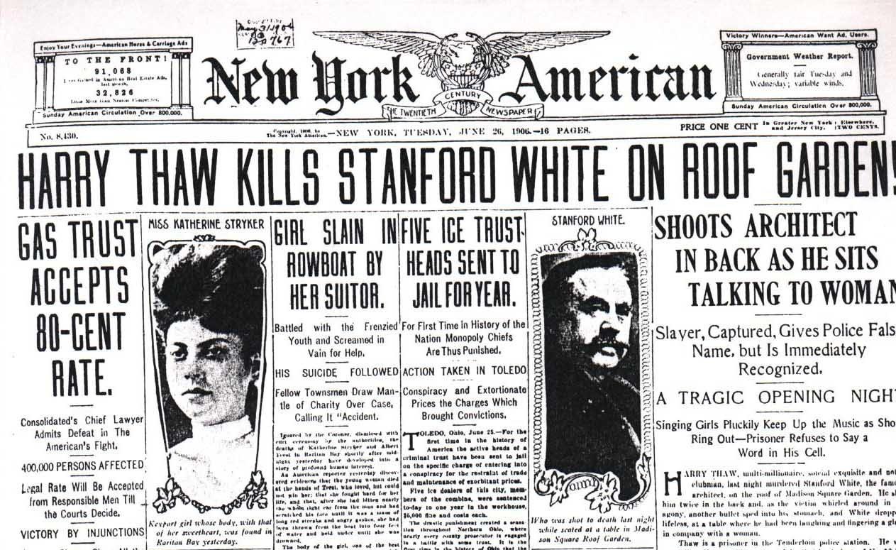 """""""Harry Thaw mata a Stanford White en el jardín de la terraza"""" (Portada del 'New York American' del 26 de junio de 1906)"""