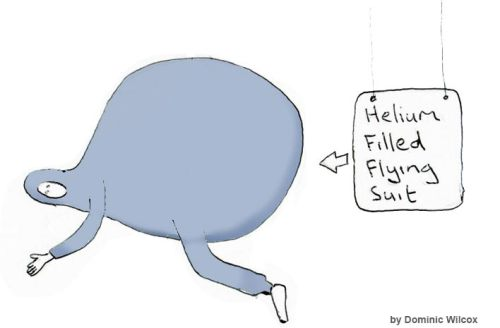 Traje volador relleno de helio. Dibujo de Dominic Wilcox