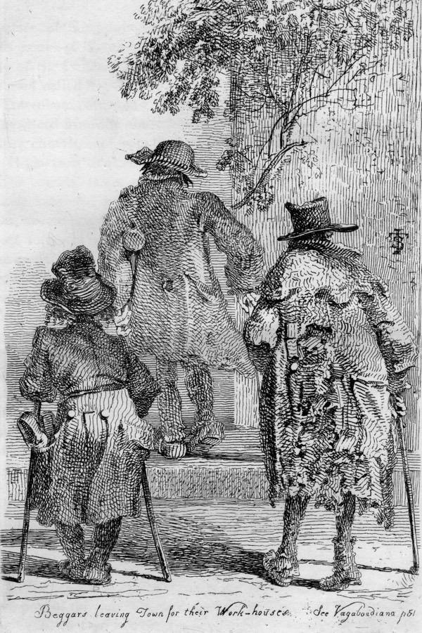 Mendigos dejando el centro de la ciudad para acudir al asilo de pobres, donde debían trabajar a cambio de comida y alojamiento - John Thomas Smith